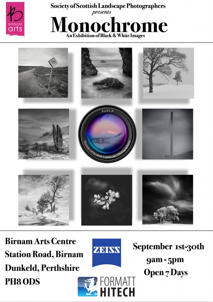 Monochrome SoSLP exhibition Birnam Arts 2019