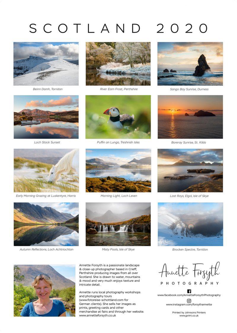 Calendar 2020 Back- Annette Forsyth Photography