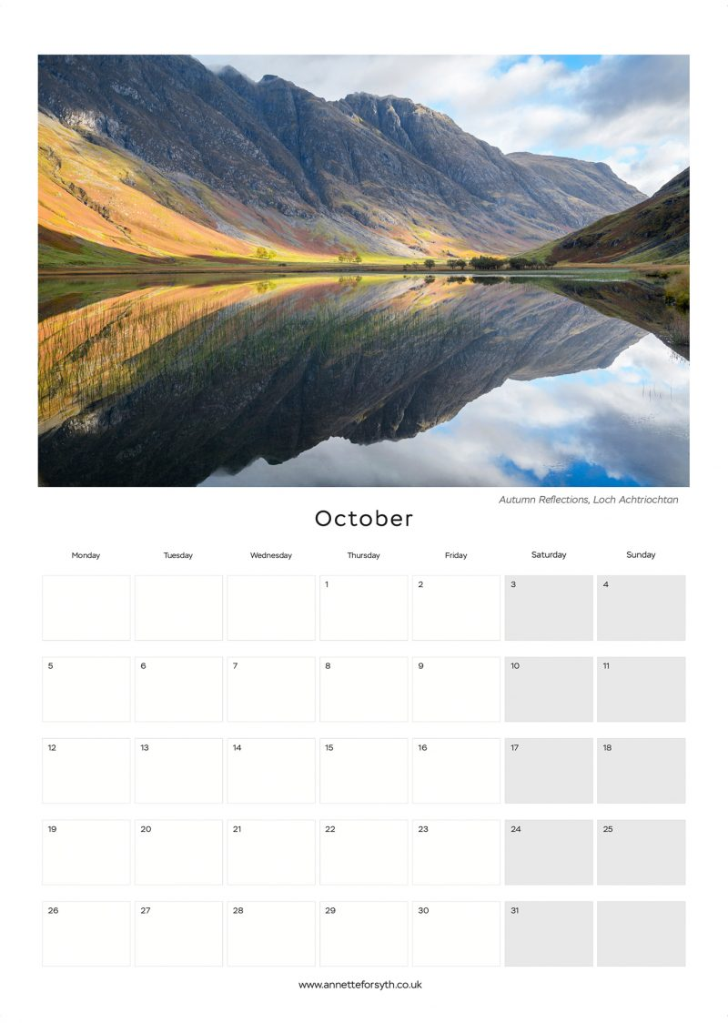 Calendar 2020 Inside October - Annette Forsyth Photography