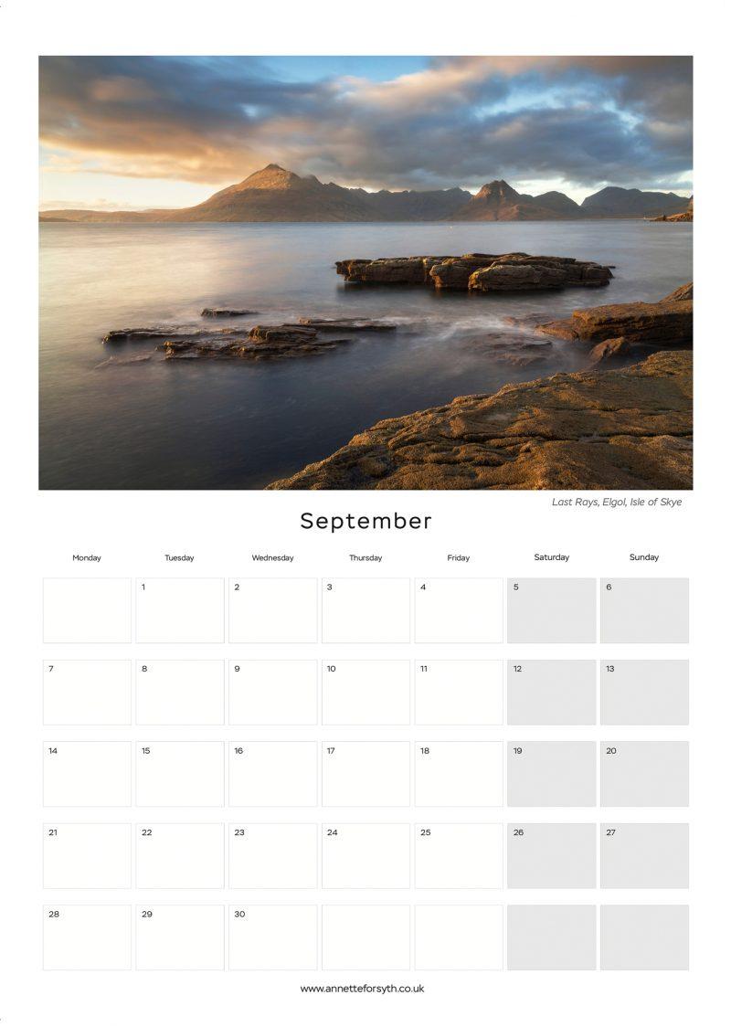 Calendar 2020 Inside September - Annette Forsyth Photography